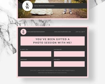 Photography Gift Certificate, Photographer Gift Card Template, Gift Voucher Template, Photoshop Photography Marketing Template