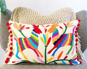 Multi color hand embroidered Otomi pillow ready to ship