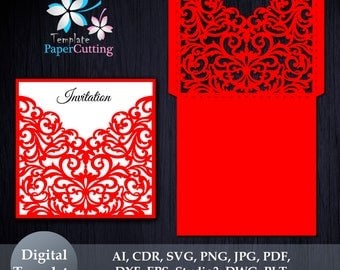 Wedding Invitation SVG Template, Quinceanera card, floral laser cute, Silhouette Cameo, Cricut, Gate Fold, Pocket Envelope frame, Bellyband