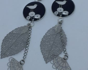 Earrings in silver with cabochon bird 9 cm