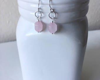 Rose quartz earrings, dainty earrings, simple earrings,gift for her,birthday gift,sterling silver earrings,rose quartz dangles,pink earrings
