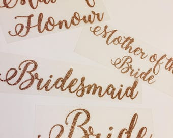 Bride/Bridesmaid/Maid of honor/Mother of the Bride t-shirt transfer, Wedding decal, Heat Transfer, DIY transfer, Iron On