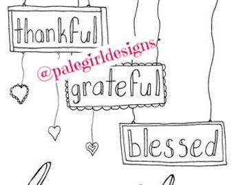 Thankful, Grateful, Blessed Family Coloring Page