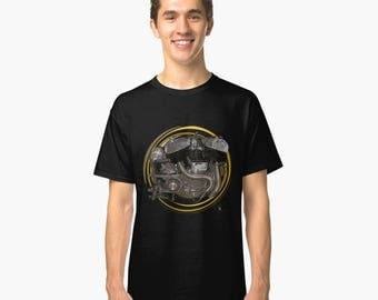 Indian engine inspired retro classic bespoke Motorcycle art T-Shirt INISHED