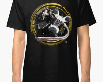 Vintage 1957 Gilera 500cc inspired Motorcycle engine T Shirt INISHED