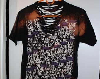 "Clandestine Industries ""Live.Eat.Sleep.Party.Die"" Bleach Dyed T-Shirt"