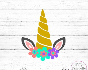 Unicorn with Flowers SVG, Unicorn Face SVG, Unicorn SVG