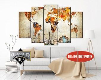 World Map Wall Art, World Map Canvas, Large World Map, Wall Art, Canvas Print, World Map, Travel Canvas Print, World Map Print, World Map