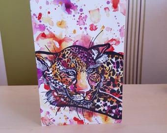 Original Handmade Cheetah Love Greeting Card 18.2 x 11.7