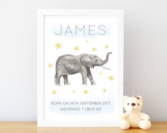 Baby boy elephant etsy personalized baby gifts for boys baby boy elephant decor personalised nursery name sign negle Images