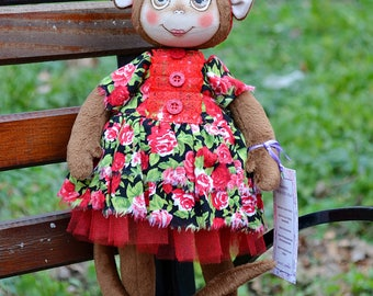 Monkey, Textile doll, Soft monkey, Art doll, Monkey doll, Handmade doll, Soft doll, Collectable doll, Cloth doll, Tilda doll