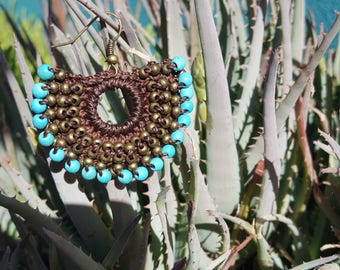 Artisan Crochet Earrings in Brown with Turquoise Beading from Oaxaca, Mexico