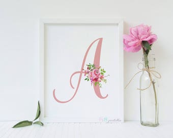 Nursery Printable Monogram Letter A. Watercolor flowers .Pink Letter A Printable.Baby Girl Wall Art. Baby Shower Gift. Instant Download.