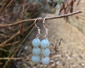 The 'Eva' Handmade semi precious mint amazonite and silver hook earrings.