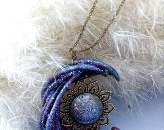 Sun Moon flowering resin necklace sun lunar Flowers nature