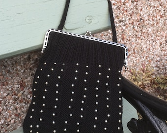 Vintage style black and silver beaded bag