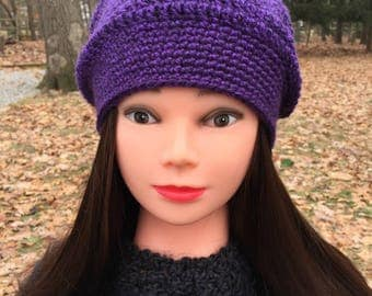 Soft Purple Slouch Hat - Beanie - Crocheted