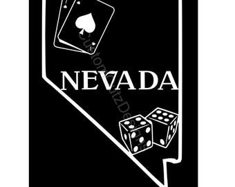 Nevada State Vinyl Decal, Car Decal, Las Vegas, Vinyl Decal, Cards, Dice, Window Decal, Laptop Decal, Yeti Decal