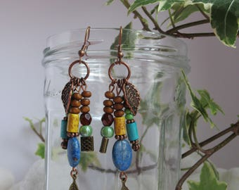 Bohemian earrings with lapis lazuli stones