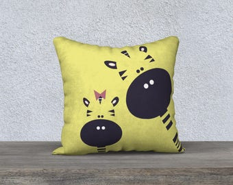 "Pillow cover decorative ""GIGI"" giraffe pillow for kids, nursery illustration, yellow, black, white, cushion, pillows"
