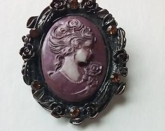 Gothic Purple Cameo Amber Rhinestones Costume Jewelry