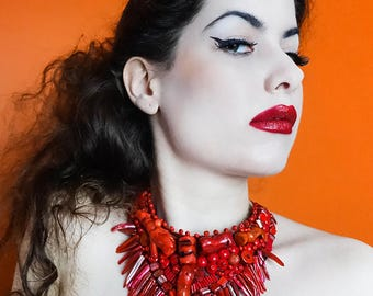 Extravagant tribal red leather and beads necklace, choker, bib
