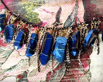 Cobalt Titanium Aura Quartz Layered Necklace