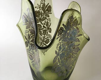 Green glass handkerchief vase with silver overlay