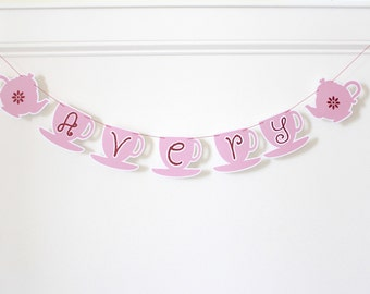 Tea cup banner; Tea party; Tea party decorations; Tea party baby shower; Tea party bridal shower; tea party supplies; tea party shower decor