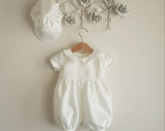 Noah: Baby Boy Sateen Christening Romper Set