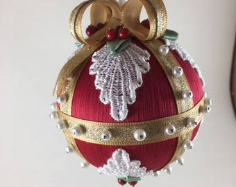 Beaded Satin Christmas Ornament