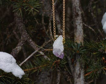 Raw Amethyst Gold Plated Necklace / Crystal Healing / Amethyst Jewelry / Purple / Gemstone Jewelry / Crystal Jewelry / Gifts for Her