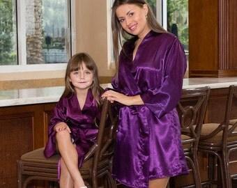 Flower Girl Robe, Flower Girl Gift, Flower Girl Favor Robes Set, Gift Set, Satin Robe, Bridesmaid Gift, Bridal Party Robes
