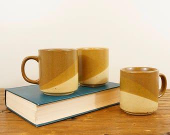 Trio of Speckled Stoneware Striped Mugs