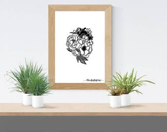 """Print """"Blooming Heart"""", A4"""