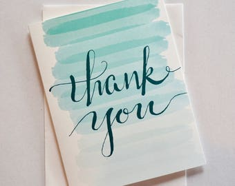 Ombré Thank You Single Folded Card and Matching Envelope