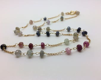 multicolor sapphire choker necklace, gold plated silver chain