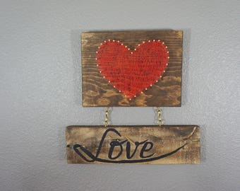 String art,sting heart,love sign,rustic decor,wall decor