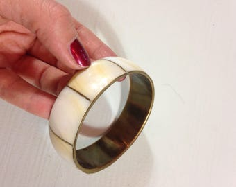 70s Brass Mother Of Pearl White Nacre Bangle