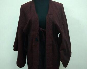 Japanese haori kimono red abstract kimono jacket /kimono cardigan/vintage kimono robe/#058