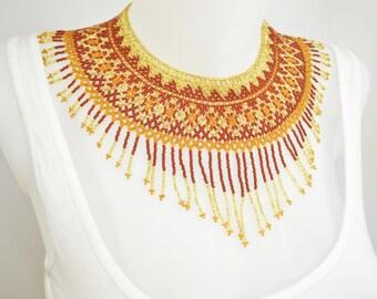 LUUV - Necklace IZTA - brick / gold - style Bohemian exotic