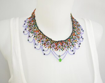 LUUV - Necklace CATZIN - purple / green - style Bohemian exotic