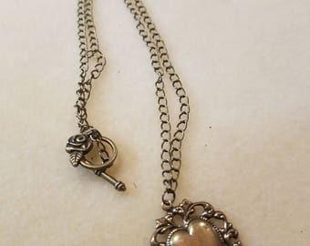 Antique Gold Heart Charm Necklace