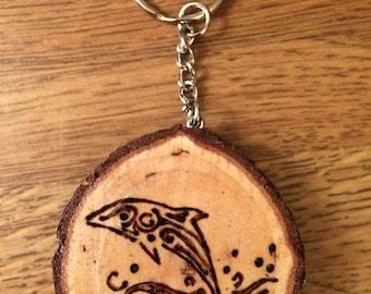 Wood Burned Keychain Dolphin