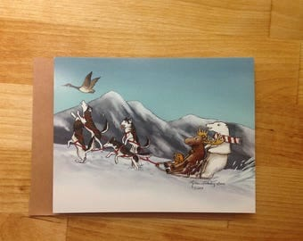Canadian Dog Sled Team Holiday / Greeting Card