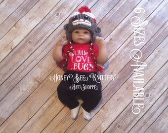 Sock Monkey Hat - 6 sizes available; tweed, brown, black, red, cardinal, cream, off white   ***READY TO SHIP***