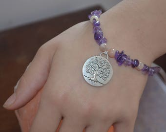 Amethyst and Adularia bracelet with knowledge tree