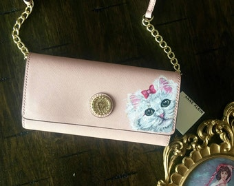 HANDPAINTED Anne Klein Purse for the CAT LOVER - a unique gift for you or someone special on Valentine's day