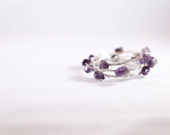 Silver and Amethyst Wire Wrapped Bracelet Set