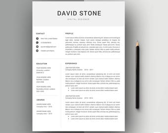 Modern Resume Template | Professional Resume Template | Resume Template + Cover Letter for Word | Modern Resume | Instant Download